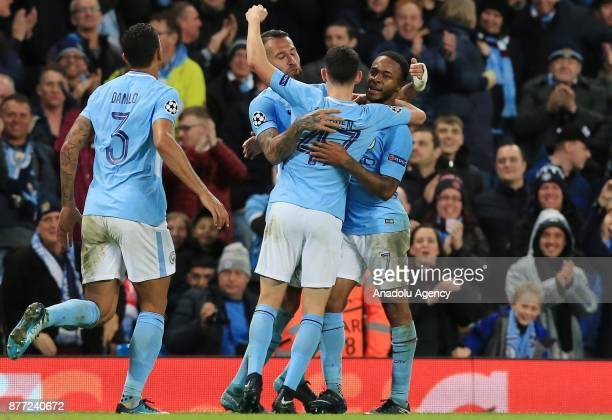 Raheem Sterling of Manchester City celebrates with his teammates after scoring a goal during the UEFA Champions League Group F soccer match between...