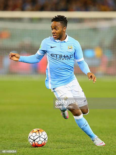 Raheem Sterling of Manchester City controls the ball during the International Champions Cup friendly match between Manchester City and AS Roma at the...