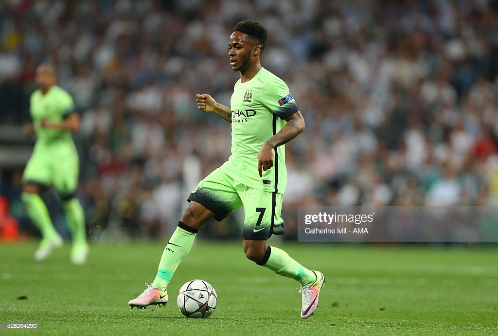 Raheem Sterling of Manchester City during the UEFA Champions League Semi Final second leg match between Real Madrid and Manchester City FC at Estadio Santiago Bernabeu on May 4, 2016 in Madrid, Spain.