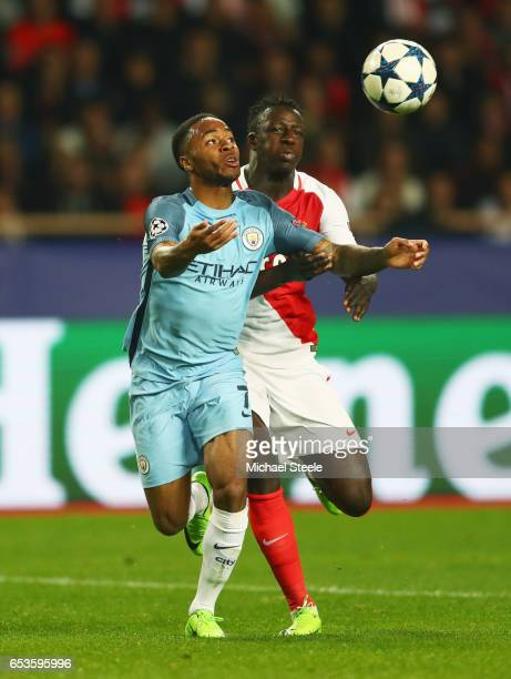 Raheem Sterling of Manchester City evades Benjamin Mendy of AS Monaco during the UEFA Champions League Round of 16 second leg match between AS Monaco...