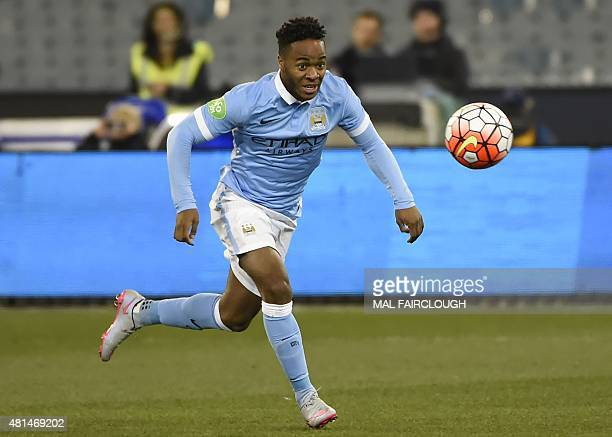 Raheem Sterling of Manchester City eyes the ball during the International Champions Cup football match between English Premier League team Manchester...