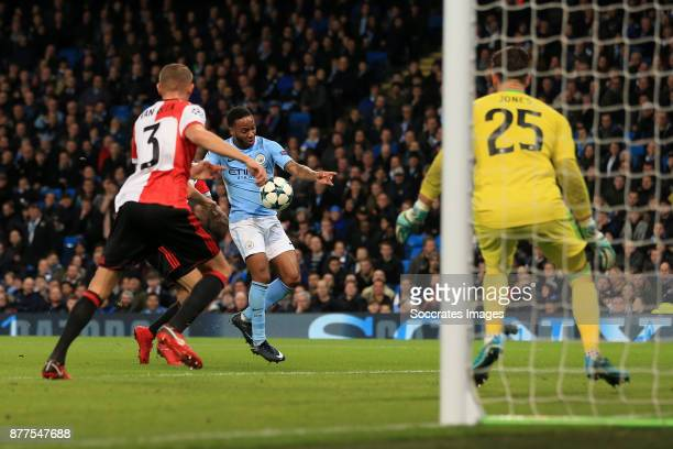 Raheem Sterling of Manchester City goes close during the UEFA Champions League match between Manchester City v Feyenoord at the Etihad Stadium on...
