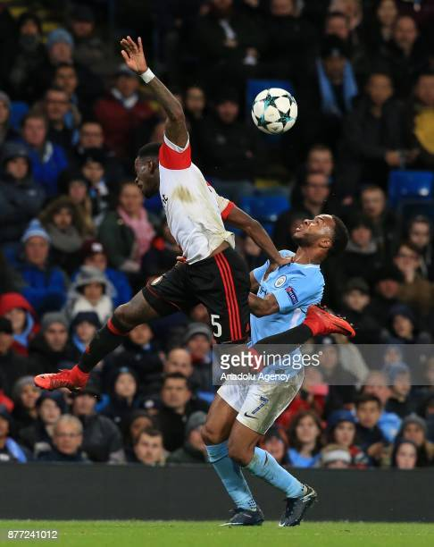Raheem Sterling of Manchester City in action against Ridgeciano Haps of Feyenoord Rotterdam during the UEFA Champions League Group F soccer match...