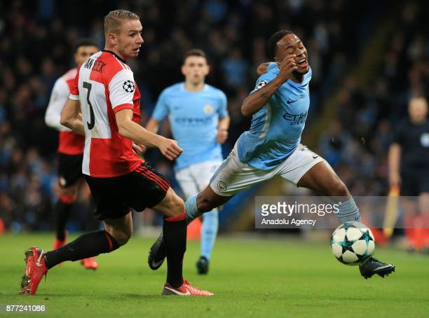 Raheem Sterling of Manchester City in action against Sven van Beek of Feyenoord Rotterdam during the UEFA Champions League Group F soccer match...