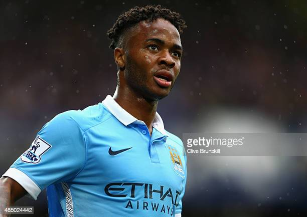 Raheem Sterling of Manchester City in action during the Barclays Premier League match between Everton and Manchester City on August 23 2015 in...