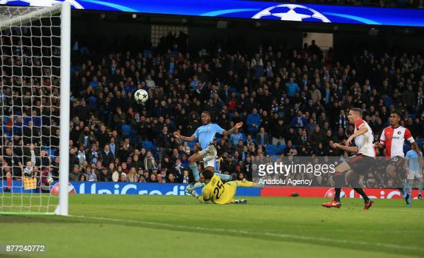 Raheem Sterling of Manchester City in action during the UEFA Champions League Group F soccer match between Manchester City FC and Feyenoord Rotterdam...