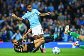 Raheem Sterling of Manchester City is challenged by Leonardo Bonucci of Juventus during the UEFA Champions League Group D match between Manchester...