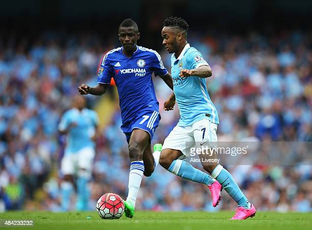 Raheem Sterling of Manchester City is closed down by Ramires of Chelsea during the Barclays Premier League match between Manchester City and Chelsea...