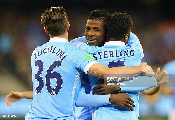 Raheem Sterling of Manchester City is congratulated by team mates after scoring a goal during the International Champions Cup friendly match between...