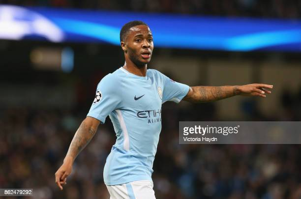 Raheem Sterling of Manchester City looks on during the UEFA Champions League group F match between Manchester City and SSC Napoli at Etihad Stadium...