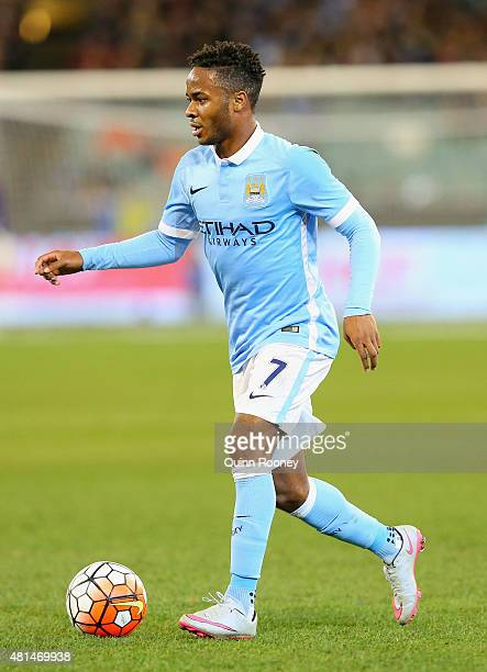 Raheem Sterling of Manchester City looks to pass the ball during the International Champions Cup friendly match between Manchester City and AS Roma...