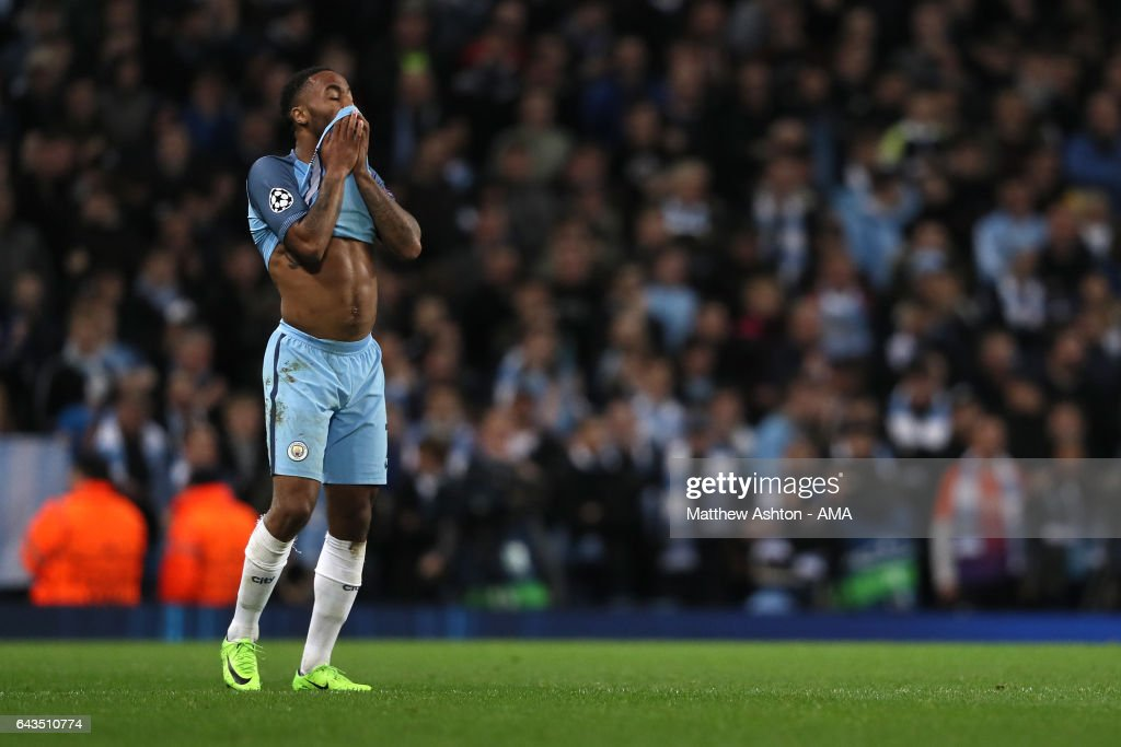 Raheem Sterling of Manchester City reacts after his team conceded a third goalduring the UEFA Champions League Round of 16 first leg match between Manchester City FC and AS Monaco at Etihad Stadium on February 21, 2017 in Manchester, United Kingdom.