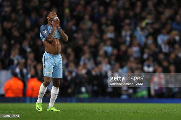 Raheem Sterling of Manchester City reacts after his team conceded a third goalduring the UEFA Champions League Round of 16 first leg match between...