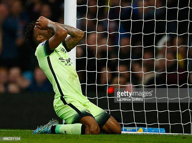 Raheem Sterling of Manchester City reacts after missing a chance on goal during the Barclays Premier League match between Aston Villa and Manchester...