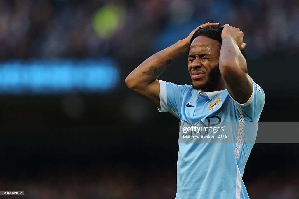 <a gi-track='captionPersonalityLinkClicked' href=/galleries/search?phrase=Raheem+Sterling&family=editorial&specificpeople=6489439 ng-click='$event.stopPropagation()'>Raheem Sterling</a> of Manchester City reacts after missing a first half chance during the Barclays Premier League match between Manchester City and Tottenham Hotsput at the Etihad Stadium Bloomfield Road on February 14, 2016 in Manchester, England.