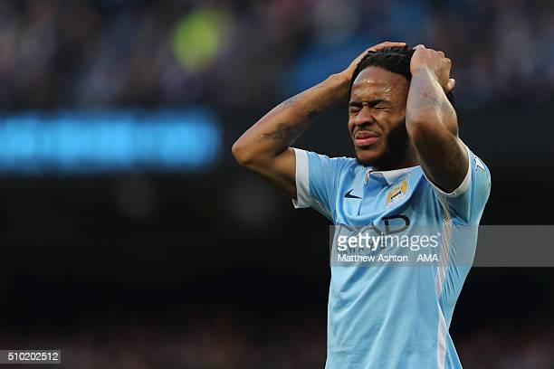 Raheem Sterling of Manchester City reacts after missing a first half chance during the Barclays Premier League match between Manchester City and...