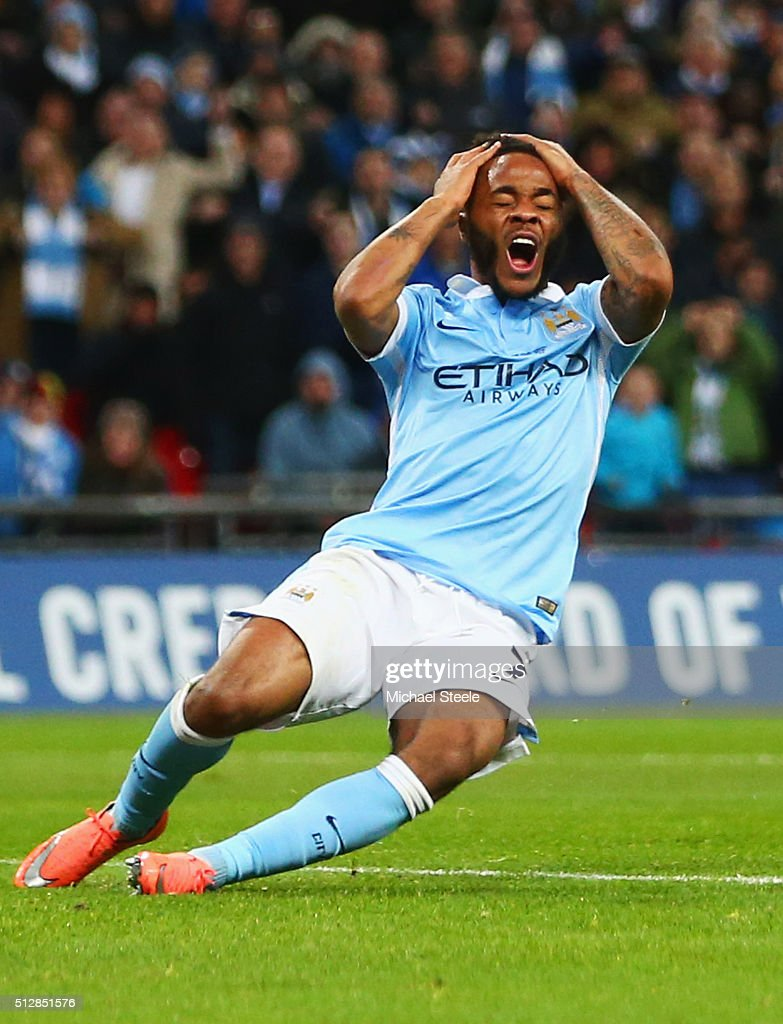 <a gi-track='captionPersonalityLinkClicked' href=/galleries/search?phrase=Raheem+Sterling&family=editorial&specificpeople=6489439 ng-click='$event.stopPropagation()'>Raheem Sterling</a> of Manchester City reacts as he misses a clear chance during the Capital One Cup Final match between Liverpool and Manchester City at Wembley Stadium on February 28, 2016 in London, England.
