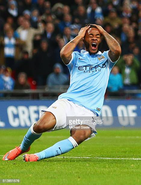 Raheem Sterling of Manchester City reacts as he misses a clear chance during the Capital One Cup Final match between Liverpool and Manchester City at...