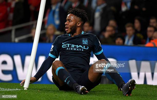Raheem Sterling of Manchester City reacts during the Barclays Premier League match between Arsenal and Manchester City at Emirates Stadium on...