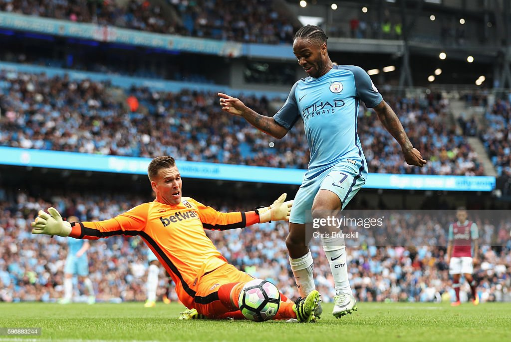 Raheem Sterling of Manchester City rounds goalkeeper Adrian of West Ham United to score his second goal and his team's third during the Premier League match between Manchester City and West Ham United at Etihad Stadium on August 28, 2016 in Manchester, England.
