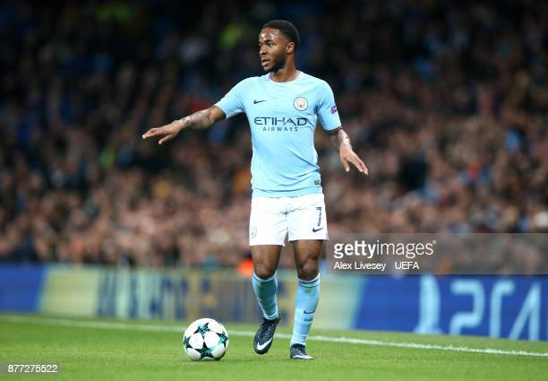 Raheem Sterling of Manchester City runs with the ball during the UEFA Champions League group F match between Manchester City and Feyenoord at Etihad...
