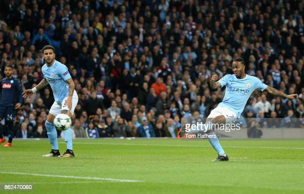Raheem Sterling of Manchester City scores his sides first goal during the UEFA Youth League Group F match between Manchester City and SSC Napoli at...