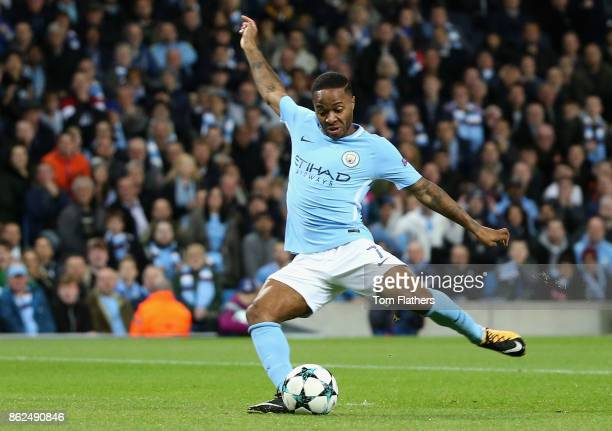 Raheem Sterling of Manchester City scores his sides first goal during the UEFA Champions League group F match between Manchester City and SSC Napoli...