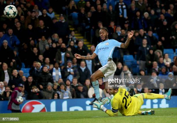 Raheem Sterling of Manchester City scores his sides first goal past goalkeeper Brad Jones of Feyenoord during the UEFA Champions League group F match...