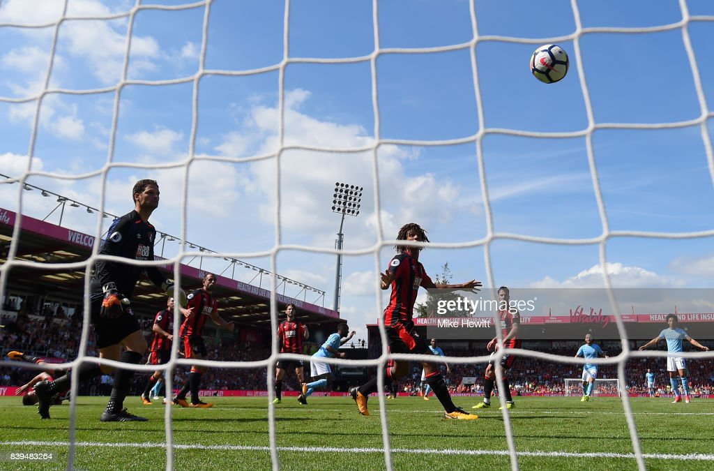Raheem Sterling of Manchester City scores his sides second goal during the Premier League match between AFC Bournemouth and Manchester City at Vitality Stadium on August 26, 2017 in Bournemouth, England.