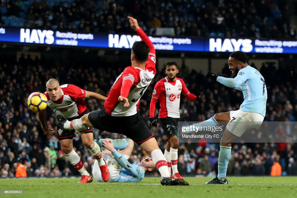 Raheem Sterling of Manchester City scores his sides second goal during the Premier League match between Manchester City and Southampton at Etihad Stadium on November 29, 2017 in Manchester, England.