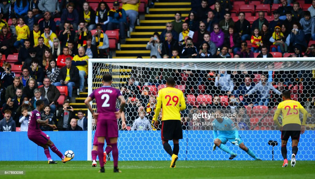 Raheem Sterling of Manchester City scores his sides sixth goal past Heurelho Gomes of Watford during the Premier League match between Watford and Manchester City at Vicarage Road on September 16, 2017 in Watford, England.