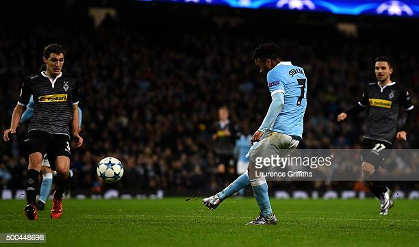 Raheem Sterling of Manchester City scores his side's third goal during the UEFA Champions League Group D match between Manchester City and Borussia...