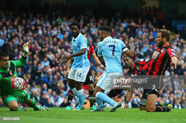 Raheem Sterling of Manchester City scores his team's first goal during the Barclays Premier League match between Manchester City and AFC Bournemouth...
