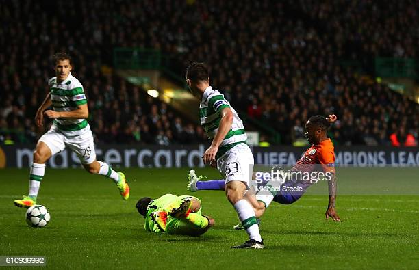 Raheem Sterling of Manchester City scores his team's second goal during the UEFA Champions League group C match between Celtic FC and Manchester City...