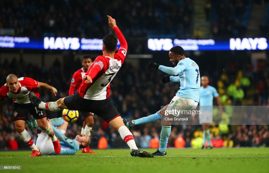 Raheem Sterling of Manchester City scores their second goal during the Premier League match between Manchester City and Southampton at Etihad Stadium on November 29, 2017 in Manchester, England.