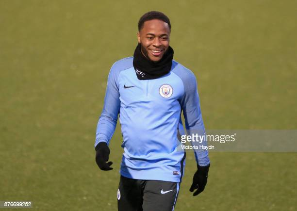 Raheem Sterling of Manchester City trains during Manchester City Training ahead of the Champions League group F match between Manchester City and...