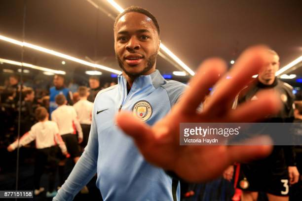 Raheem Sterling of Manchester City walks in the tunnel prior tothe UEFA Champions League group F match between Manchester City and Feyenoord at...