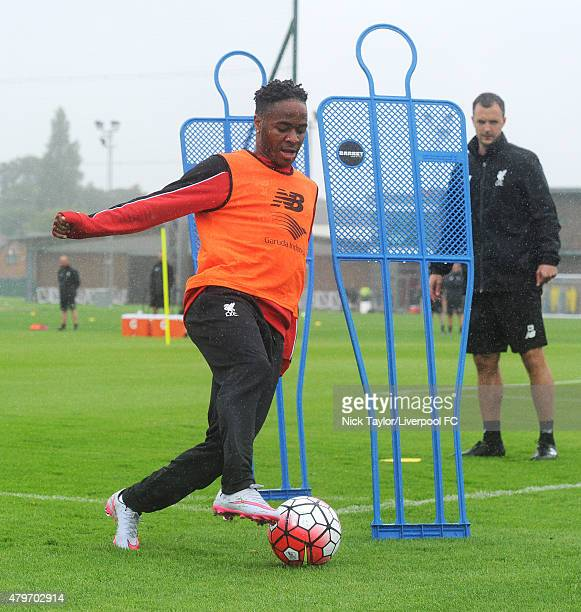 Raheem Sterling on the ball as Liverpool players return for preseason training at Melwood Training Ground on July 6 2015 in Liverpool England