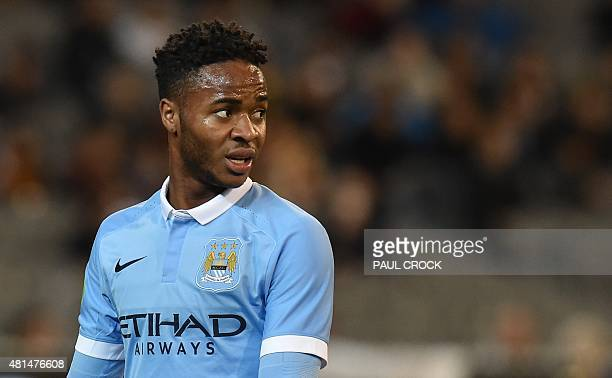 Raheem Stirling of Manchester City reacts during the International Champions Cup football match between English Premier League team Manchester City...