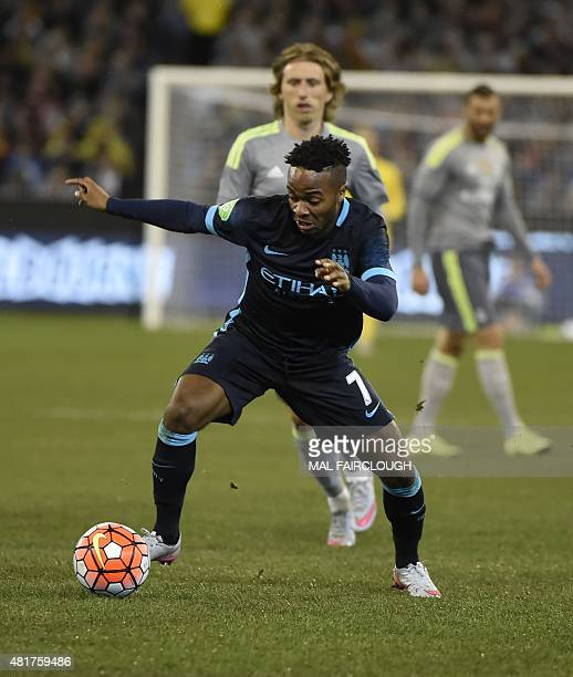 Raheem Stirling of Manchester City runs with the ball during the International Champions Cup football match between English Premier League team...