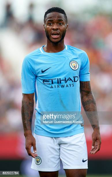 Raheen Sterling of Manchester City reacts during the preseason friendly match between Girona and Manchester City at Municipal de Montilivi Stadium on...