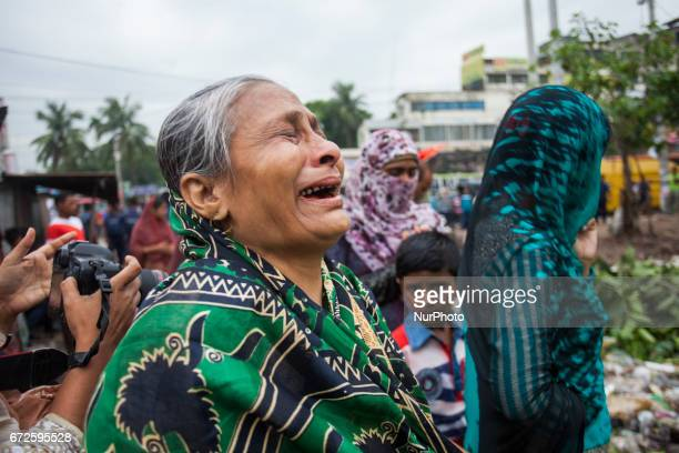 Rahela Begum mother of Reazul Khokon a victim who killed in the quotRana Plazaquot building collapse crying at the site where the building once stood...