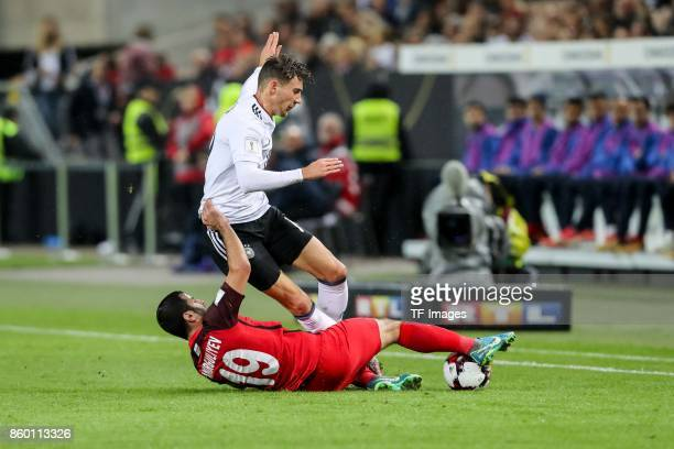 Rahid Amirguliev of Azerbaijan und Leon Goretzka of Germany battle for the ball during the FIFA 2018 World Cup Qualifier between Germany and...