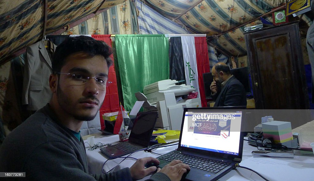 Rahim Khalil is the webmaster for Sunni protesters on Iraq's main highway to Jordan. The protest againsts the Shiite-led government in Baghdad began at the start of the year and blocks the roadway.