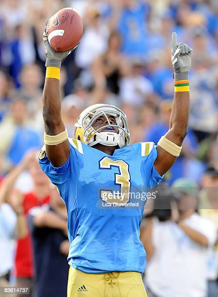 Rahim Moore of the UCLA Bruins celebrates after an interception against the Oregon State Beavers at the Pasadena Rose Bowl on November 8 2008 in...