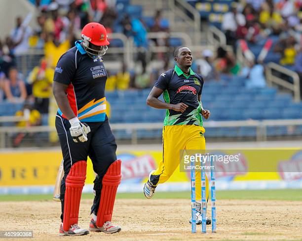 Rahkeem Cornwall lbw by Jerome Taylor of Jamaica Tallawahs during a match between Jamaica Tallawahs and Antigua Hawksbills as part of the week 4 of...
