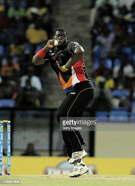 Rahkeem Cornwall of Antigua Hawksbills took two wickets against St Lucia Zouks during the Seventeenth Match of the Caribbean Premier League between...