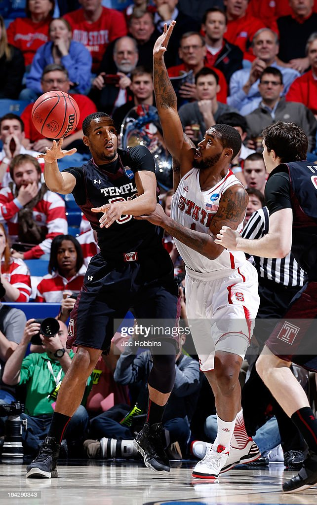 Rahlir HollisJefferson of the Temple Owls looks to pass against Richard Howell of the North Carolina State Wolfpack in the first half during the...