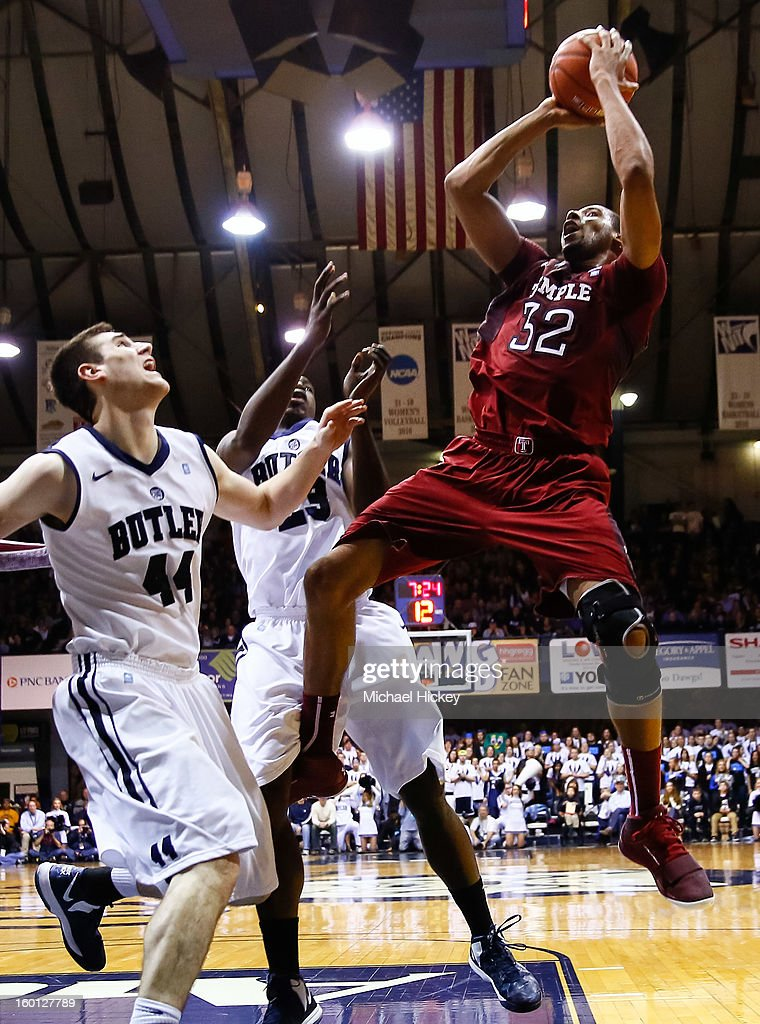 Rahlir Hollis-Jefferson #32 of the Temple Owls shoots the ball over <a gi-track='captionPersonalityLinkClicked' href=/galleries/search?phrase=Andrew+Smith+-+Basketball+Player&family=editorial&specificpeople=7641849 ng-click='$event.stopPropagation()'>Andrew Smith</a> #44 of the Butler Bulldogs and <a gi-track='captionPersonalityLinkClicked' href=/galleries/search?phrase=Khyle+Marshall&family=editorial&specificpeople=7406043 ng-click='$event.stopPropagation()'>Khyle Marshall</a> #23 of the Butler Bulldogs at Hinkle Fieldhouse on January 26, 2013 in Indianapolis, Indiana. Butler defeated Temple 83-71.