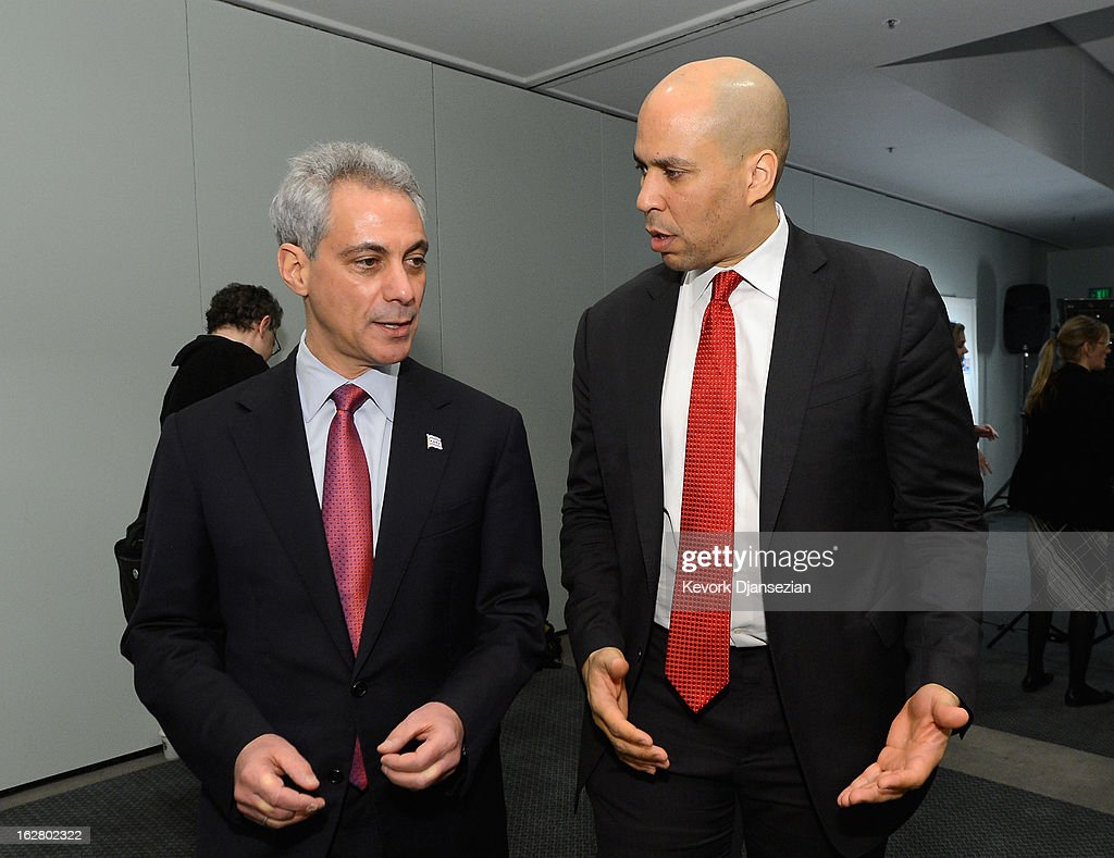 Rahm Emanuel, (L) Mayor of Chicago, and Cory Booker, Mayor of Newark, N.J., arrive for a discussion on the challenges of urban education reform during the United Way of Greater Los Angeles' Education Summit at the Los Angeles Convention Center on February 27, 2013 in Los Angeles, California. Los Angeles Mayor Antonio Villaraigosa was honored during the summit for championing education reform.